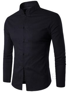 Men Shirt Cotton Chinese Tradition Style 2017 New Arrival Male Solid Color Mandarin Collar Business Long Sleeve Casual Shirt XXL Col Mandarin, Chemise Fashion, Long Sleeve Tops, Long Sleeve Shirts, Mandarin Collar Shirt, Costume Shirts, Dress Shirts, Branded Shirts, Collar Shirts
