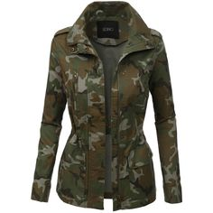 LE3NO Womens Long Sleeve Camo Military Anorak Jacket (105 BRL) ❤ liked on Polyvore featuring outerwear, jackets, tops, coats, coats & jackets, military inspired jacket, camoflauge jacket, camoflage jacket, anorak jackets and military anorak jacket