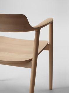 Hiroshima wood armchair l Naoto Fukasawa Small Accent Chairs, Accent Chairs For Living Room, Restaurant Furniture, Restaurant Chairs, Home Furniture, Furniture Design, Wooden Furniture, Fire Pit Chairs, Naoto Fukasawa