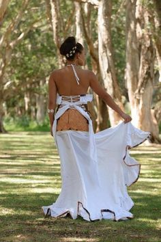 Samoan tapa white dress