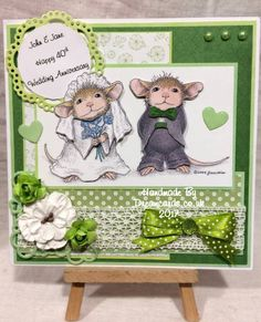 House Mouse wedding card using Decoupage cd rom from Joanna Sheen x House Mouse Stamps, Card Making Inspiration, Paper Cards, Anniversary Cards, Copic, Mice, Scrapbook Pages, Wedding Cards, Layering