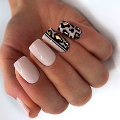 Leopard Nail Designs, Acrylic Nail Designs, Nail Art Designs, Animal Nail Designs, Gel Manicure Designs, Square Nail Designs, Manicure Ideas, Cute Nails, Pretty Nails