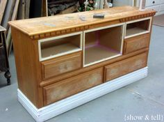 {Before & After} – dresser turned TV console   Sweet Pickins Furniture... she took out 4 drawers.. boxed out the spaces with MDF and made a custom piece of furniture... I could do this sorts thing to create the TV console I want!