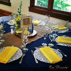 Wedding Decorations Navy Reception Ideas navy and yellow rustic themed wedding table decor event ide Wedding Table Themes, Silver Wedding Decorations, Wedding Ideas, Wedding Centerpieces, Rustic Wedding, Navy Yellow Weddings, French Blue Wedding, Yellow Wedding Decor, Yellow Table