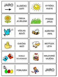 Jar domino - vety - čítanie s porozumením Abc Activities, Preschool Worksheets, Weather For Kids, Activity Board, Spring Projects, Schools First, School Classroom, Teaching English, Holidays And Events