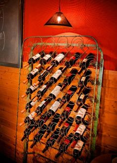 old mattress springs wine storage - love this!