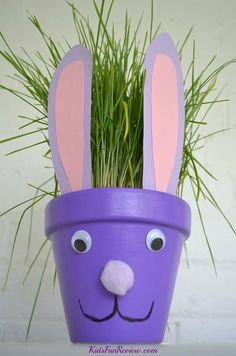 Easter bunny flower pot craft idea