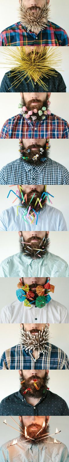 My brother keeps putting things in his beard, and it's pretty amazing.