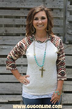 Wondering Eye White Baseball Burnout With Tan And Aqua  Aztec Sleeves $22.95 www.gugonline.com