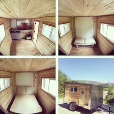 This is the Drift House micro camper. Inside you'll find a kitchenette, murphy bed, and seating. Outside you'll find customizable space to store your bikes and other gear which makes this a great alternative to a teardrop camper. If you're interested in buying one pricing starts at $6,250