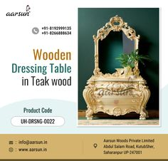 Buy Wooden Dressing Table made with Teak Wood by our expert artisans in Saharanpur. Our dressing table possesses impeccable finish and is available in different sizes as per customer's needs. Moreover, it is easy to maintain and thus possess long lasting life.
