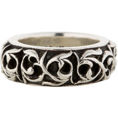 Pre-owned Chrome Hearts Carved Tribal Ring ($295) ❤ liked on Polyvore featuring jewelry, rings, bracelets, silver, chrome hearts, tribal jewellery, preowned jewelry, chrome hearts bracelet and carved jewelry
