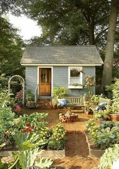 Lovely and Cute Garden Shed Design ideas for Backyard Part 40 ; garden shed ideas; garden shed organization; garden shed interiors; garden shed plans; garden shed diy; garden shed ideas exterior; garden shed colours; garden shed design Cottage Garden Sheds, Garden Shed Diy, Cottage Garden Design, Garden Care, Cottage House, Painted Garden Sheds, Cottage Patio, Smart Garden, Farmhouse Garden