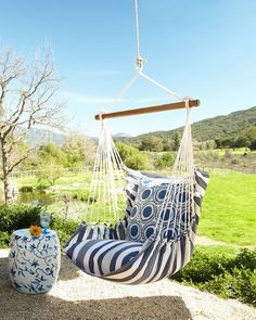 Blue Swinging Chair - EXCLUSIVELY OURS . Handcrafted indoor/outdoor swinging chair with pillows. feels soft like cotton. Olefin-covered cotton rope and hardwood brace for hanging. Diy Hammock, Backyard Hammock, Hammock Swing, Hammock Ideas, Outdoor Hammock Chair, Cozy Backyard, Backyard Camping, Outdoor Pillow, Outdoor Lounge