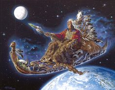 The old shaman has slipped his earthly bonds and rides his magical travois to the stars. Guided by the eagle, protected by the bison horns and hide, with sage burning and a sacred water jar, he glides through space, hunting gear in the back and his lance before him, he looks forward to becoming one with the universe.