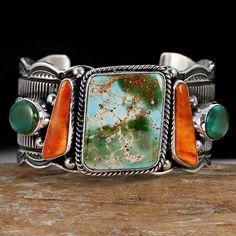 "GUY HOSKIE Navajo ""High Mesa"" ROYSTON Turquoise Row Bracelet Sterling Silver"