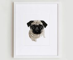 This fun, fresh illustration features the pug portrait design.