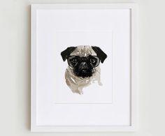 This fun, fresh illustration features the pug portrait design.