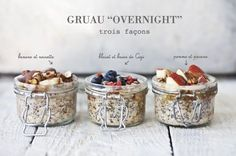 Overnight Chia and Oats with Fruits and Nuts: Banana + Hazelnuts; Sweet Breakfast, Breakfast Dessert, Perfect Breakfast, Breakfast Ideas, Healthy Bars, Healthy Foods To Eat, Overnight Porridge, Overnight Oatmeal, Cooking Time