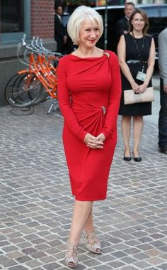 Helen Mirren in what might just be the best red dress ever designed by humans.