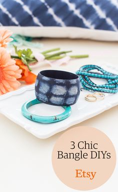 As a single statement bracelet or stacked in a full-on arm party, bangles add boho charm to any ensemble. Here are three DIY jewelry projects to pick from—wherever your crafting strengths lie.