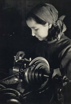 "Margaret Bourke-White, At the Lathe, ""Hammer & Sickle"" Factory: Moscow, ca. 1931"