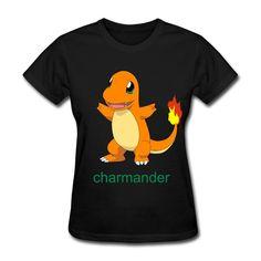 MKSD Pokemon Charmander Women Design T-shirts Black