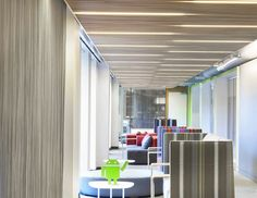 Cascade Coil metal curtains helping keep the break room cool at the San Francisco, California Google Headquarters.