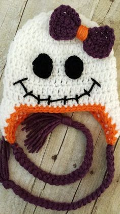 Crochet Baby Girl Ghost Beanie with Bow - Halloween hat for S