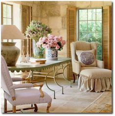 162481499029045998 Slip Covers, Linen Slipcovers, Provence Style,Pam Pierce, Rustic Furniture, Rustic Designs, European Decor, European Decorating, French Style