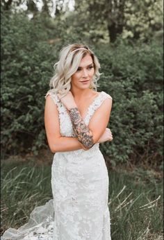 Brides with tattoos #elegant #bixbyandpine                              …