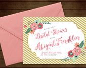 Printable Floral Outline Bridal Wedding Shower Invitation-Print Yourself-Digital Invite