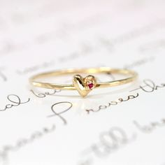Ruby Heart Ring, 14k Gold Stacking Ringhttp://www.etsy.com/listing/119240480/ruby-heart-ring-14k-gold-stacking-ring#