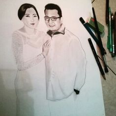 Couple drawing sketch pencil