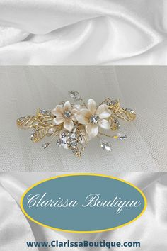Petite hair clip for the bride or any member of her bridal party. This precious hair clip with porcelain flowers set in a gold and rhinestone setting is a perfect addition to any bride, bridesmaid, or mothers' wedding day look. . #clarissaboutiquepittsburgh #clarissaboutique #bridalboutique #burghbrides #bride #bridetobe #bridalhaircombs #bridalcomb #tiara #tiaras #bridalwear #bridalfashion #bridalstyle #wedding #weddings #weddinginspiration #weddongaccessories #bridaljewelry #bridalhair