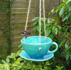 Bird feeder tea cup in stoneware-weatherproof ceramics pottery for the garden