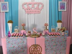 Pink and Blue Princess Party Pink Princess Party, Princess Theme, Princess Birthday, Princesse Party, Golden Birthday, Bday Girl, Party Decoration, 3rd Birthday Parties, Birthday Ideas