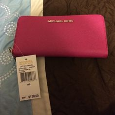 "Spotted while shopping on Poshmark: ""Authentic fuschia MK wallet""! #poshmark #fashion #shopping #style #Michael Kors #Clutches & Wallets"