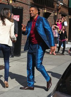 Will Smith Attends David Letterman Show In Ermenegildo Zegna Spring 2013 Blue Silk Suit and Oxblood Polo Top