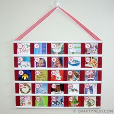 Recycled Christmas Card Avent Calendar - I've been looking for a cute advent calendar.. now I can make my own for next year!  <3