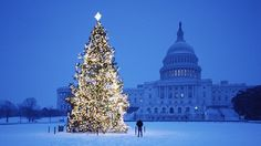 US Capitol at Christmastime in the snow