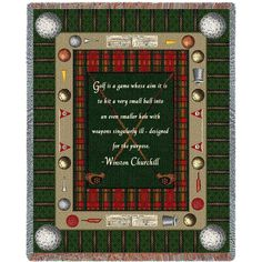 Golf Quote by Winston Churchill Art Tapestry Throw