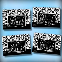 Black and White DAMASK Bathroom Word Art Wall by collagebycollins, wall, art, black, white, Jo Collins, collage by collins, flush, wash, floss, brush, bath, rules, damask