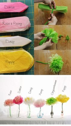 How to Make Tissue Paper Flowers. Tissue paper flowers make great decorations and party décor.Inspirational Monday – Do it yourself (diy) Flower series – Tissue Paper Flowers Pretty and simple decorations for a spring party. Or make extra large Paper Flowers Diy, Flower Crafts, Diy Paper, Paper Crafting, Craft Flowers, Paper Poms, Handmade Flowers, Flowers Decoration, Tissue Paper Roses