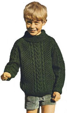 pullover sweaters for boys free patterns | Aran Turtleneck Sweater Children Knitting Pattern Sz 2-14