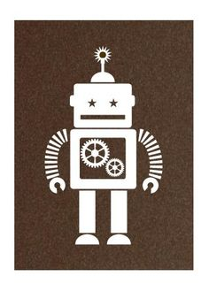 Robot Print by Hero Design Robot Illustration, Illustrations, Nono Le Petit Robot, Robot Theme, Dragons, Collages, Arte Robot, Retro Robot, Silhouette Cameo Projects