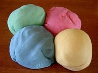 Edible Playdough - without peanutbutter.    1 c. water  2 tbsp. oil  1 c. flour  1/2 c. sugar  1 pkg. Kool-aid - any flavor    Mix together water and oil.  Microwave on High for about 2 minutes.  Remove and add flour, sugar and kool-aid.  Mix together with a spoon.  Use it to make whatever you want.  When it comes time to clean up - EAT IT!