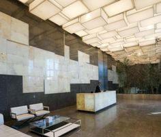 Contemporary Lighting Design for a Lobby Lighting Concepts, Lighting Design, Interior Lighting, Lighting Ideas, Commercial Design, Commercial Interiors, Atrium, Architecture Details, Interior Architecture