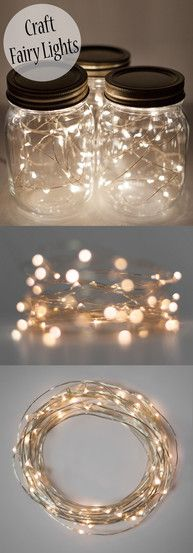 These amazing white fairy craft lights are perfect for decorating and DIY ideas! These amazing white fairy craft lights are perfect for decorating and DIY ideas! The tiny white lights are super bright and LED, so battery lasts super long. Pot Mason Diy, Mason Jar Crafts, Mason Jar Party, Fairy Crafts, Diy And Crafts, Decor Crafts, Led Fairy Lights, Mason Jar Fairy Lights, Mason Jar Lighting