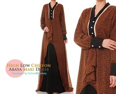 Brown Ruffle High Low Chiffon Silk Long Sleeved Abaya Maxi Dress-  Size S/M 6095 FREE SHIPPING! by Tailored2Modesty on Etsy